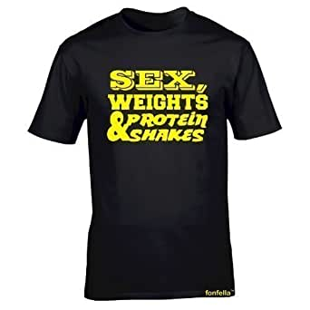 SWPS Men's SEX WEIGHTS PROTEIN SHAKES (YELLOW DESIGN) (S - BLACK) Loose Fit T-shirt