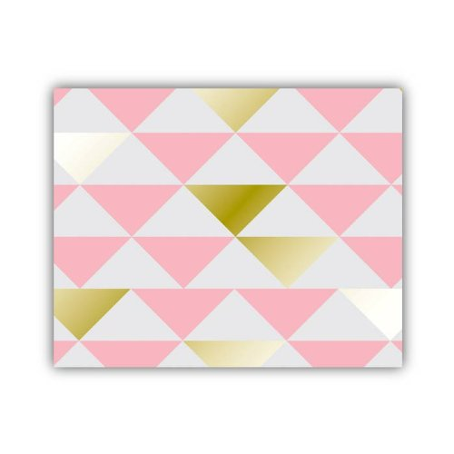 "Lucy Darling Triangle Series Wall Decor, Pink/Gold/White, 8"" x 10"""