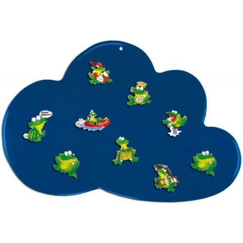 Magnetpinnwand Magnettafel Magnetwand Wolke blau inlusive 8 Frosch Magneten