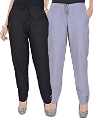 Kalrav Solid Black and Grey Cotton Pant Combo