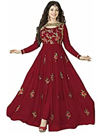 ARYAN FASHION Designer Beautiful Red Flower Printed Long Anarkali Suit Semi-Stitched Suit ( Bottom Unstitched)