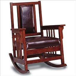 Elegant Wood Rocking Chair in Tobacco Finish, Brown