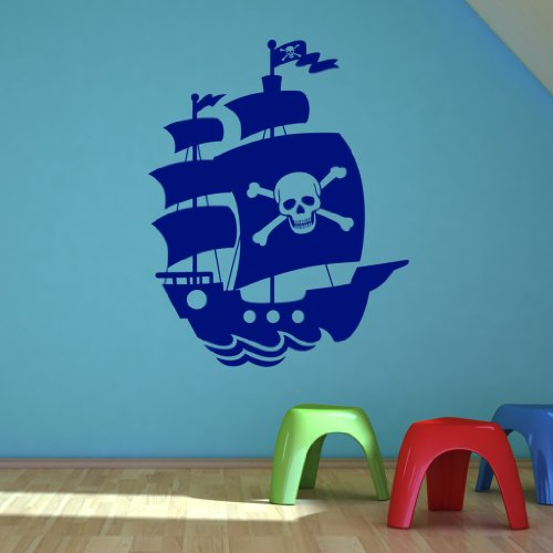 Childrens Pirate Ship Wall Sticker - Art Vinyl Decal Stickers, Easy to Apply, Free Applicator, Easy Peel - (PLEASE CHOOSE YOUR SIZE & COLOUR USING DROP DOWN MENU) - by Rubybloom Designs