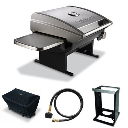 Cuisinart CGG-200 All-Foods 12,000-BTU Tabletop Gas Grill + Cover + Adaptor Hose + Grill Stand (Cuisinart Propane Tank Gauge compare prices)