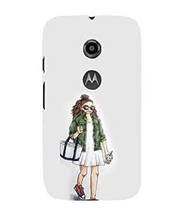 EPICCASE Shopping girl Mobile Back Case Cover For Moto E 2nd Generation (Designer Case)