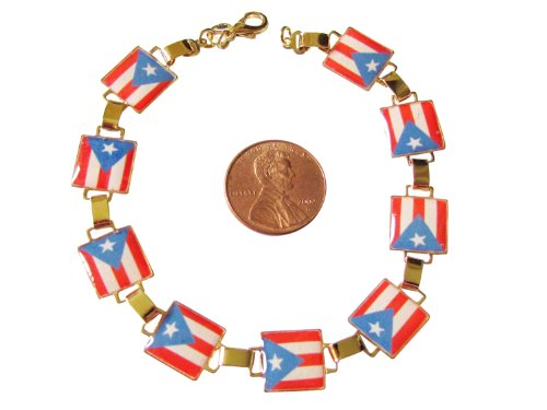 14K Gold Overlay Square Bar Link Bracelet With The Puerto Rican Flag