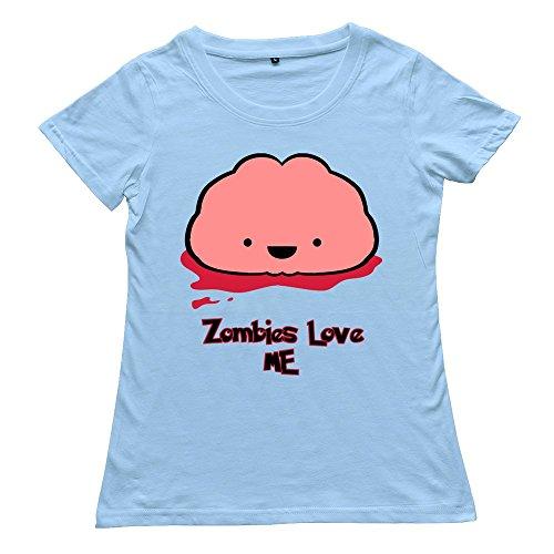 Crew Neck Fashion Brain Food Zombie Sky Blue Women'S T Shirt