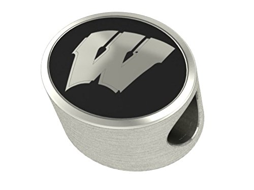 Wisconsin Badgers College Bead Fits Most Pandora Style Bracelets Including Pandora, Chamilia, Biagi, Zable, Troll and More. High Quality Bead in Stock for Immediate Shipping