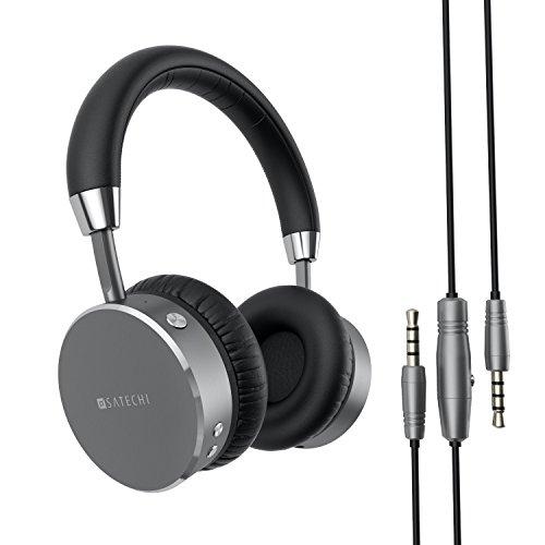 Satechi サテチ アルミニウム Bluetooth ワイヤレス ヘッドホン(3.5mm音声ジャック付き)iPhone 7, Galaxy S7などスマホ/タブレット用 低音バス強調(スペースグレイ)