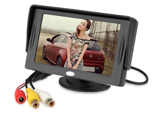 Elecs 4.3 Inch Car Lcd Tft Rearview Monitor Screen With Visor + Hd Rearview Backup Camera For Car Parking