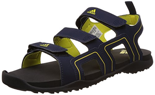 adidas Men's Ediffin Blue, Black and Yellow Sandals and Floaters - 7 UK