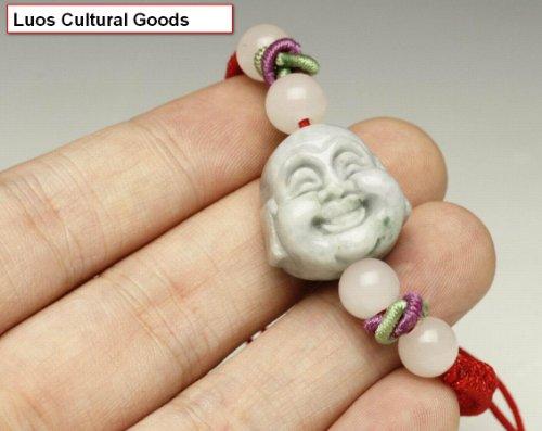 LUOS Handmade Jade Buddha Head Red String Bracelet - ST037