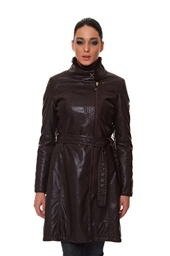 Kensol Women's FAUX LEATHER STAND COLLAR BELTED JACKET, Size 10