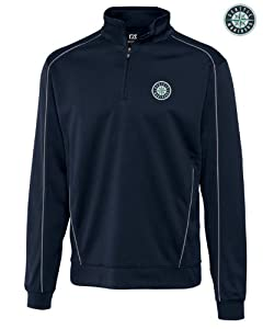 Seattle Mariners Mens DryTec Edge Half Zip Jacket Navy Blue by Cutter & Buck