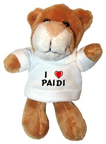 Plüsch Löwe Schlüsselhalter mit einem T-shirt mit Aufschrift mit Ich liebe Paidi (Vorname/Zuname/Spitzname)