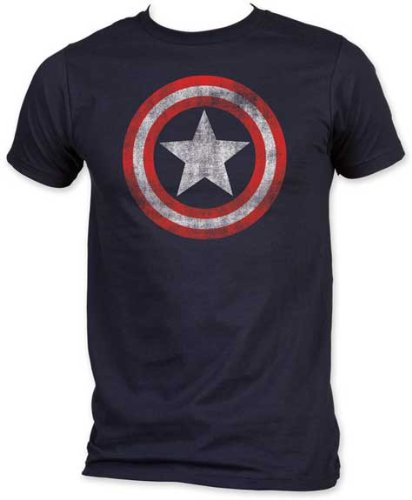 Captain America - Distressed Shield Logo Shirt, Large