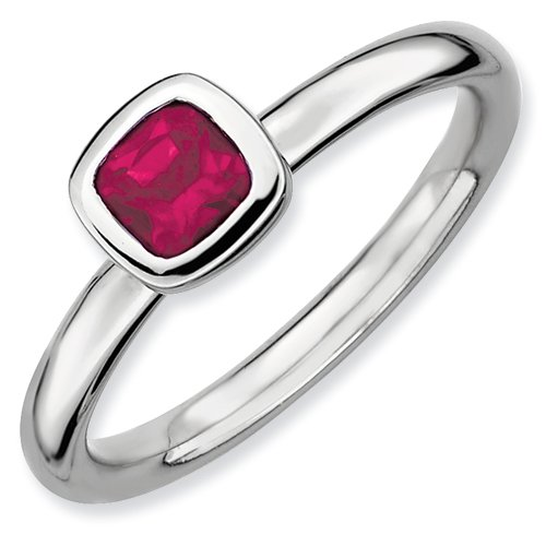 Sterling Silver Stackable Expressions Cushion Cut Created Ruby Ring (Size 10)