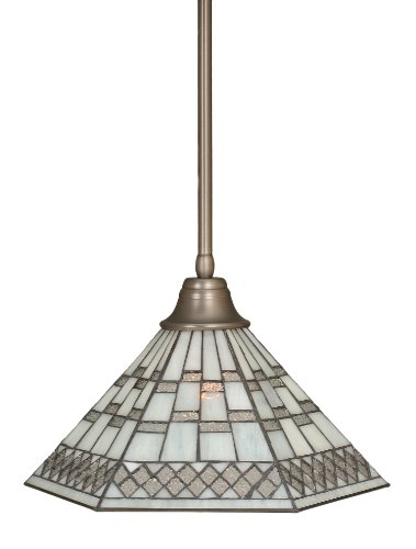 Toltec Lighting 26-BN-910 Stem Pendant Light Brushed Nickel Finish with Pewter Tiffany Glass, 16-Inch