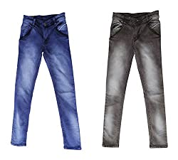 fourgee Boys Trousers- Pack of 2 (015-11 _12-13 Years, Multi-Coloured, 12-13 Years)