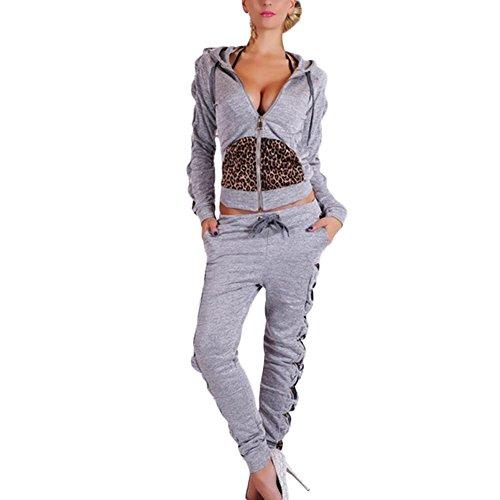 Donna 2 Pezzi Tute Felpa Pantalone Tute Set maniche lunghe leopardo sportsuit Tute da jogging zip con cappuccio Gray S