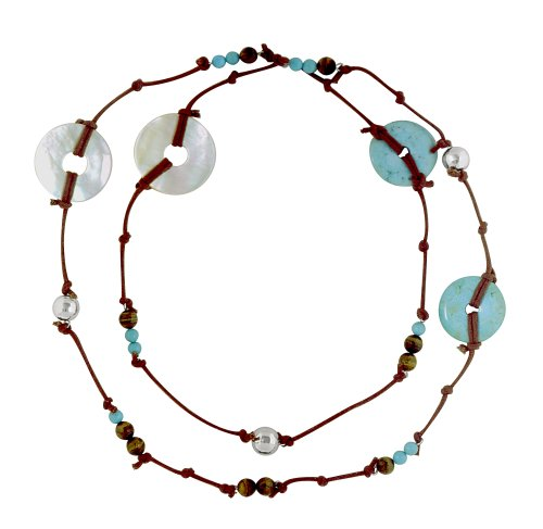 Leather Necklace with Turquoise Doghnut and Mother Pearl Doghnut with Silver Beads From the Amazonas Collection By Mauricio Serrano Jewelry