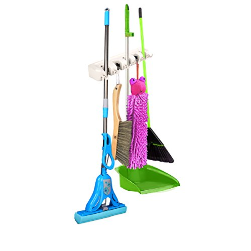 New Mop Holder Hanger 5 Position Home Kitchen Storage Broom Organizer Wall Mounted (Vapor Genie compare prices)