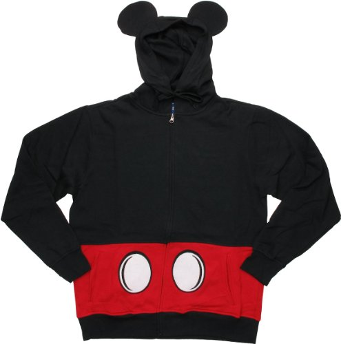 Disney Men's Mickey Mouse Suit Up Costume Hoodie, Black, Large (Mickey Mouse Costume For Men)