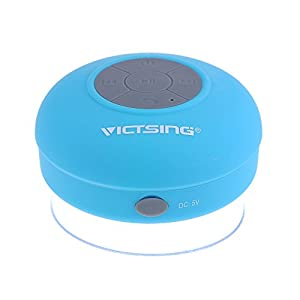 [Upgraded Version]VicTsing Waterproof Portable Wireless Bluetooth 3.0 Mini Speaker 3W Shower Pool Car Handsfree with Microphone for Apple iPhone 4 4S 5 5S 5C 6 iPhone 6 Plus Samsung Galaxy S5 S4 iPad iPod MP3 MP4 Tablet PC - Blue