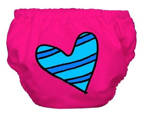 Charlie Banana 2 In 1 Swim Diaper And Training Pants (Large, Blue Petit Coeur On Pink) front-828988