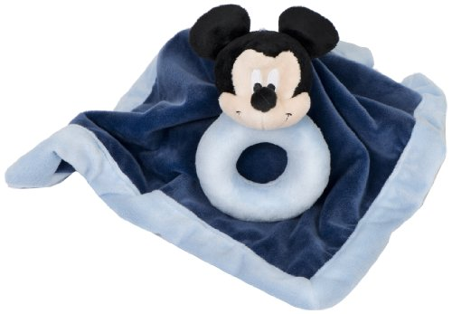 Disney Baby  Security Blanket with Ring Rattle, Mickey (Discontinued by Manufacturer) - 1