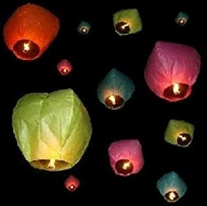 Amazon.com: 50pcs Assorted Color Fly Sky Wish lanterns Mini Hot