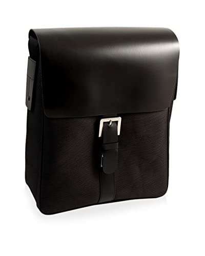 Bey-Berk Leather & Nylon Messenger Bag, Black