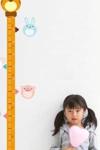 成長と共に☆ウォールステッカー 身長計 アニマル メモリ 測定 壁紙シール ウォールシール【GreeParty】