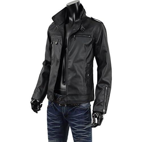 ライダースジャケット メンズ レザージャケット ライダース Wジップ PU 合成皮革 ブルゾン 907001 ブラック L