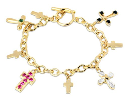 18k Gold over Sterling Silver Created Stone and Diamond Cross Charm Bracelet