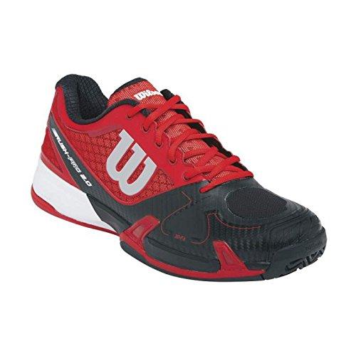 Wilson Scarpe da Corsa da Uomo Rush Pro 2.0 - Rosso / Nero / Carbonio - Rosso / Nero, EUR 42