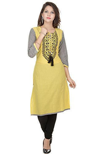 Amour Yellow Cotton Cambric 60S Straight Digital Printed Kurti For Women