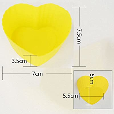 ANFIMU [30 Pack] Reusable Heart Shaped Silicone Baking Cups / Cupcake Liners