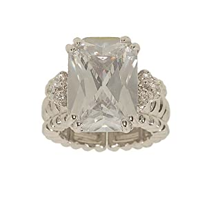 Large Clear Emerald Cut Cubic Zirconia Stretch Cocktail Ring