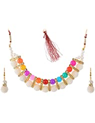 Geode Delight Pearl Choker Necklace Set For Girls & Women