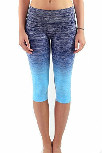 Sassy Apparel Women's Premium Quality Active Wear Seamless Cropped Capri Pants (Small, Navy/Ocean Blue)