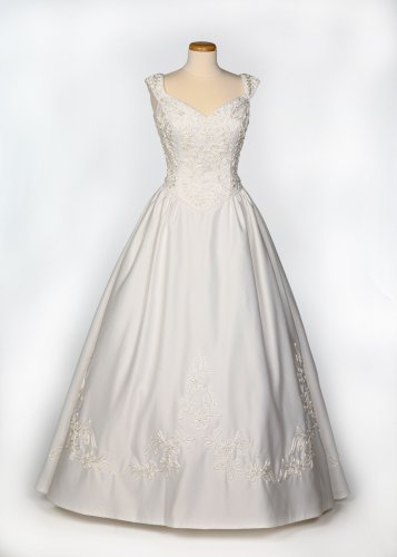 White Satin Wedding Gown w/ Detachable Train