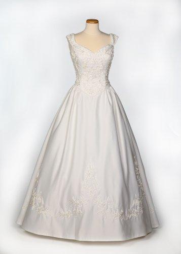 White Satin Wedding Gown w/ Detachable Train