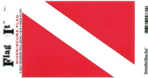 Diver / SCUBA Flag Self Adhesive Vinyl Decal (Scuba Decal compare prices)