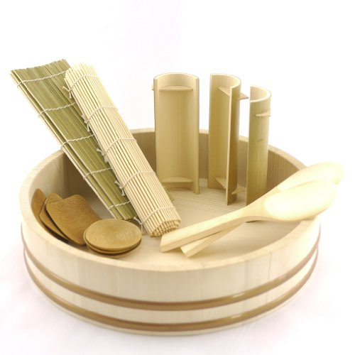 Bambooimportsmn 12 sushi oke tub hangiri with 13pc for Utensilios cocina japonesa