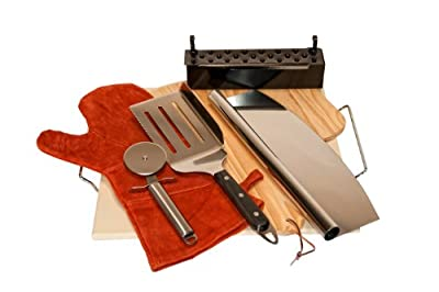 Pacific Living Premium 8-Piece Outdoor Pizza Stone Kit with Smoker Box for Grills or Ovens