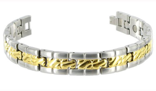 12 MM Wide Mens Two Tone Titanium Magnetic Link Bracelet 8″ Long
