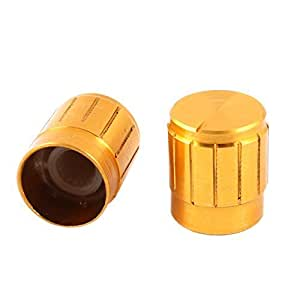 2 Pcs Gold Tone 15mm x 17mm CD Amplifier Aluminum Potentiometer Knobs