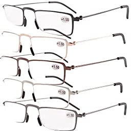 Eyekepper 5-Pack Straight Thin Stamped Metal Frame Half-eye Style Reading Glasses Readers +2.5