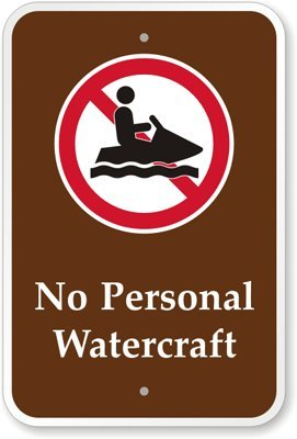 "No Personal Watercraft (With Graphic) Sign, 18"" X 12"""